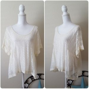 Free People Lace Overlay Top